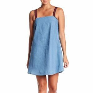 Sugarlips Blue Andie Striped Strap Denim Dress, S